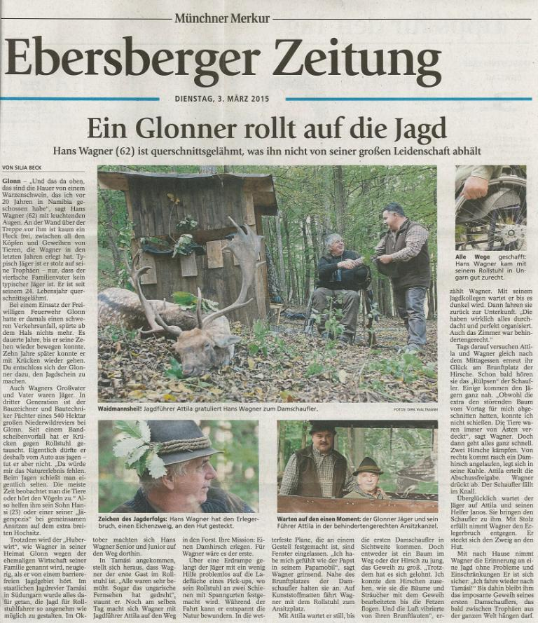 German language articel of Gyulaj's wheelchair hunting